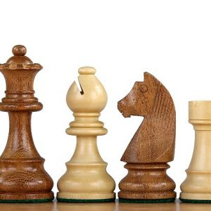 Figury Szachowe German Knight Akacja indyjska/Bukszpan 3,75 cala Rzeźbione Drewniane