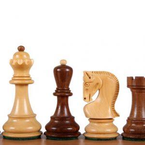 Figury szachowe Zagreb Akacja indyjska/Bukszpan 3,75 cala Rzeźbione Drewniane