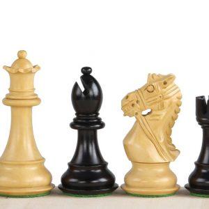 Figury szachowe King's Bridal Hebanizowane 3,75 cala Rzeźbione Drewniane