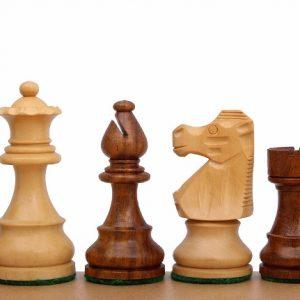 Figury Szachowe French Akacja/Bukszpan 3,5 cala Rzeźbione Drewniane