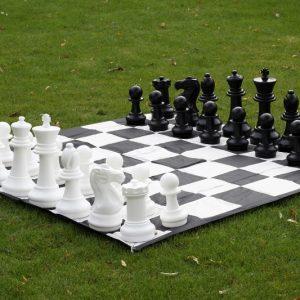 Zestaw do szachów plenerowych / ogrodowych (król 40 cm) - figury + szachownica nylonowa