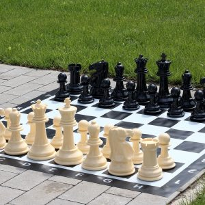 Mały zestaw do szachów plenerowych / ogrodowych (król 20 cm) - figury + szachownica winylowa
