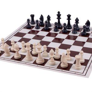 Dwustronna plastikowa deska: szachy + młynek, składana, biało - brązowa