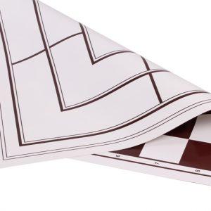 Dwustronna, zwijana, winylowa deska: szachy + młynek, biało - brązowa