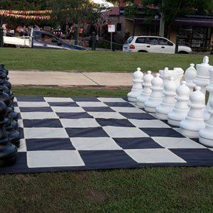Zestaw do szachów plenerowych / ogrodowych (król 64 cm) - figury + szachownica nylonowa